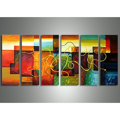Colourful Abstract Oil Painting - 60 x 32in