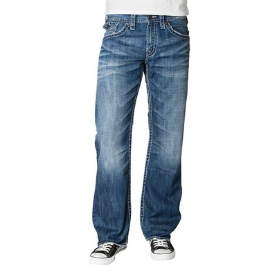 Silver Jeans ZAC MIDRISE STRAIGHT LEG WITH BACK FLAP POCKETS IN MEDIUM BLUE