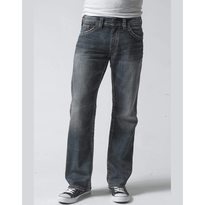 Silver Jeans ZAC MIDRISE STRAIGHT BLASTED IN MEDIUM BLUE