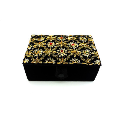 Black Velvet & Satin Jewelry Box