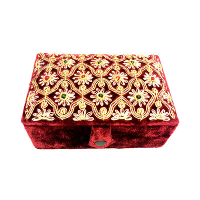 Hand-Crafted Burgundy Velvet Jewelry Box