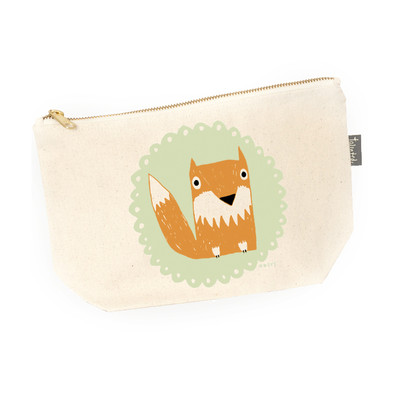UK design  canvas zip purse - mr. fox