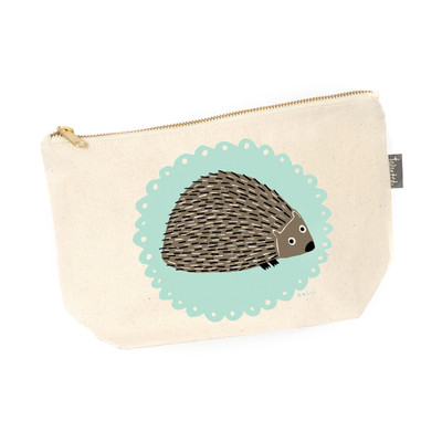 UK design  canvas zip purse - mr. hedgehog