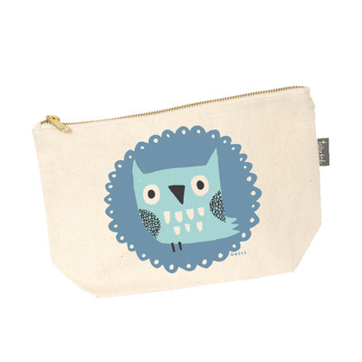 UK design canvas zip purse - mr. owl