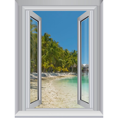 JP London AMD7A005 Prepasted Removable Away Beach Utopia Large Window Wall Mural 4 feet by 3 feet
