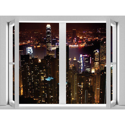 JP London AMD7A008 Prepasted Removable City Night Skyline Large Window Wall Mural 4 feet by 3 feet