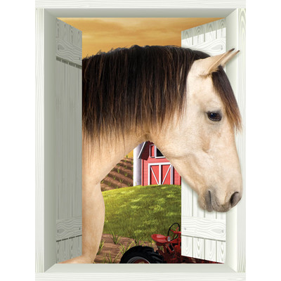 JP London AMD7A009 Prepasted Removable Horse Large Window Wall Mural 4 feet by 3 feet