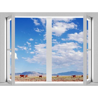 JP London AMD7A010 Prepasted Removable On The Range Large Window Wall Mural 4 feet by 3 feet
