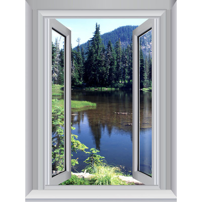 JP London AMD7A011 Prepasted Removable Cottage Forest Lake Large Window Wall Mural 4 feet by 3 feet