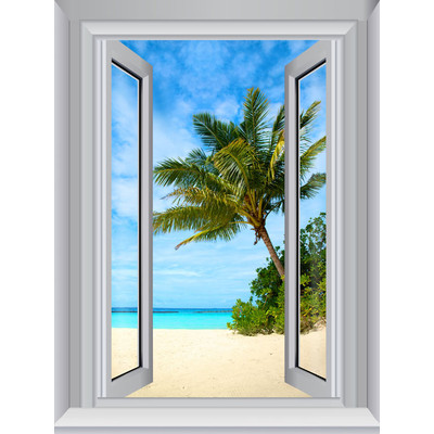 JP London AMD7A012 Prepasted Removable Beach Sand Large Window Wall Mural 4 feet by 3 feet
