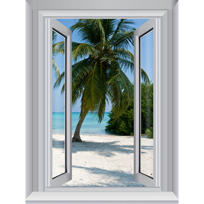 JP London AMD7A014 Prepasted Removable Blue Waters Large Window Wall Mural 4 feet by 3 feet