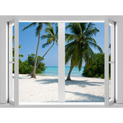 JP London AMD7A015 Prepasted Removable Twin Palms Large Window Wall Mural 4 feet by 3 feet