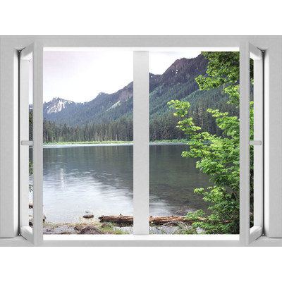 JP London AMD7A019 Prepasted Removable Lake Large Window Wall Mural 4 feet by 3 feet