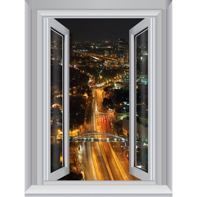 JP London AMD7A020 Prepasted Removable City Lights Large Window Wall Mural 4 feet by 3 feet
