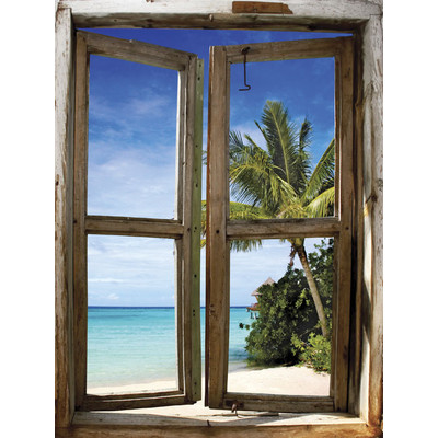 JP London UMB91021 Large Prepasted Removable Bali Afternoon Beach Tropic Window Wall Mural 4 feet high by 3 feet wide