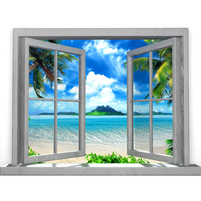 JP London UMB91090 Large Prepasted Removable Island Paradise Beach Tropic Window Wall Mural 3 feet high by 4 feet wide