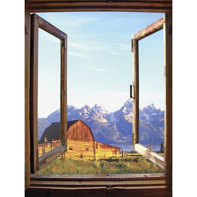 JP London UMB91091 Large Prepasted Removable Rustic Barn Range Window Wall Mural 4 feet high by 3 feet wide
