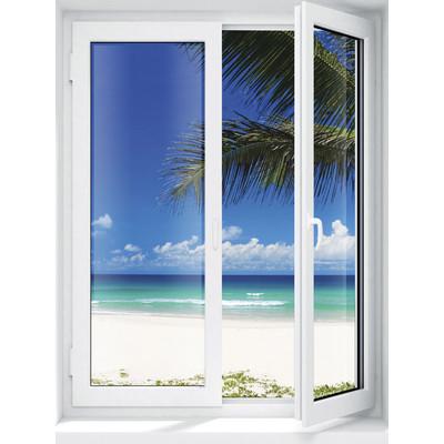 JP London UMB91127 Large Prepasted Removable Island Getaway Solitude Beach Window Wall Mural 4 feet high by 3 feet wide