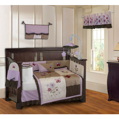 Purple Blossom 10 Piece Girls Baby Crib Bedding Set (Including Musical Mobile)