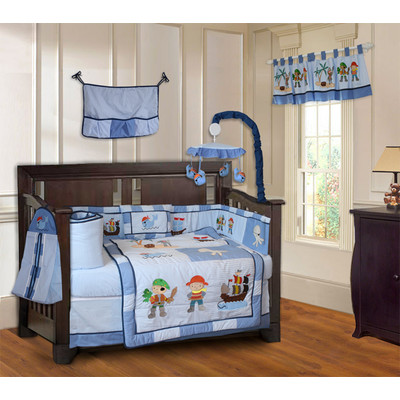 Pirates 10 Piece Blue Boys Baby Crib Bedding Set (Including Musical Mobile)