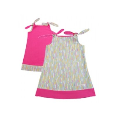 Binksy and Bobo Reversible Tie Dress - Fiddlesticks w/Pink