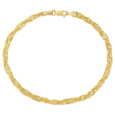 "Eliza 14K Gold Filled Yellow  7.25"" Singapore Bracelet"
