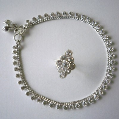 Clear Crystals Anklet & Toe Ring Set + FREE GIFT