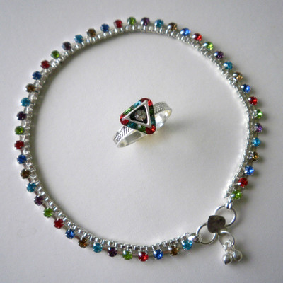 Multicolour Crystals Anklet & Toe Ring + FREE GIFT