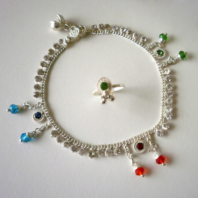 Beads and Crystals Anklet & Toe Ring Set + FREE GIFT