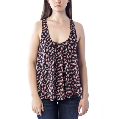 YDE  Racer Back Tank with print Chiffon overlay