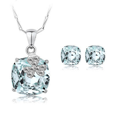 925 Sterling Silver Swarovski Elements Crystals Aquamarine Jewellery Set