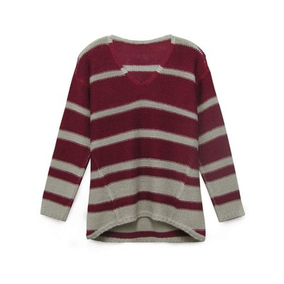 RD - Razzle Dazzle Long Sleeve Stripe v-neck hi-low sweater