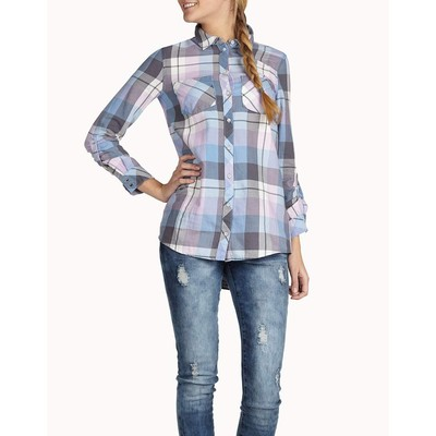ONLY       AURA LOOSE PLAID TUNIC SHIRT