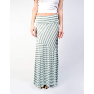 Promesa DIAGONAL SEAMS STRIPED MAXI SKIRT