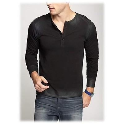 Guess LONG SLEEVE STREAM COATED HENLEY