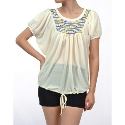 POTP       EMBROIDERED CHIFFON PEASANT TOP
