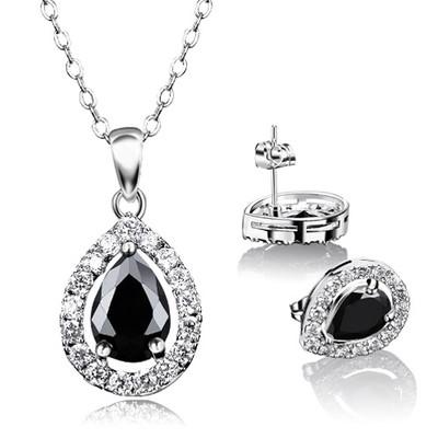 18K Gold Plated Black Zircon Jewellery Set