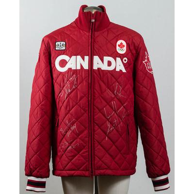 Men's Vancouver 2010 Gold Medalist men short track speed skating team Autographed Podium Jacket