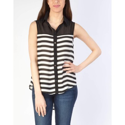 YDE Studio STRIPED SLEEVELESS TOP WITH SOLID YOKE
