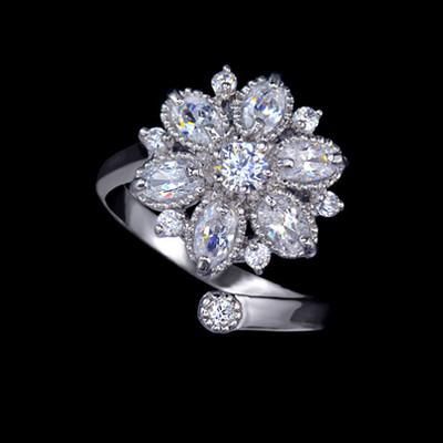 Marquise Cut 6 Petals Adjustable Ring