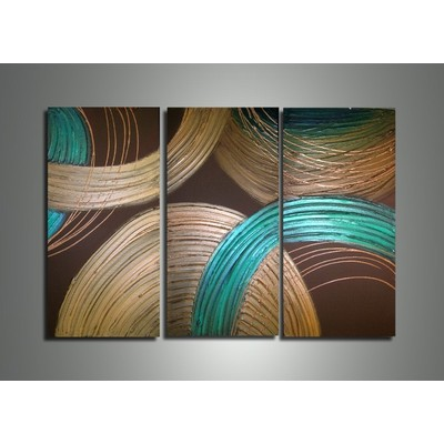 Textured Circles Large Contemporary Painting-  36 w x 28h - 3 Panels