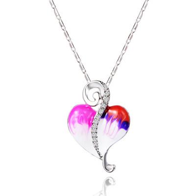 Platinum Plated Czech Rhinestones Pink Heart Pendant