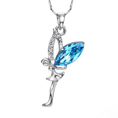Platinum Plated Blue Angel Pendant