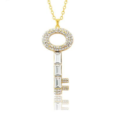 14K Gold Plated Swarovski Elements Long Key Chain Pendant