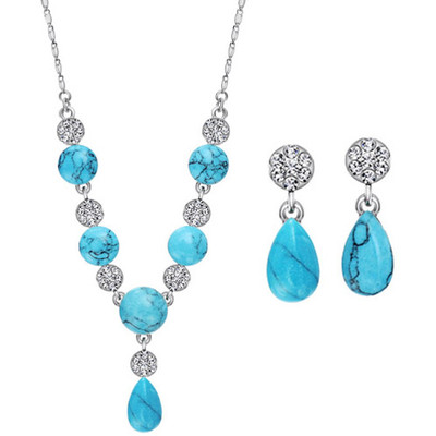 14K White Gold Plated Water Drop Jewellery Set
