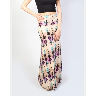 B-Envied PRINTED JERSEY MAXI SKIRT