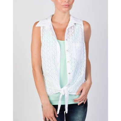 Guess EYELET BUTTON UP TANK WITH FRONT TIE