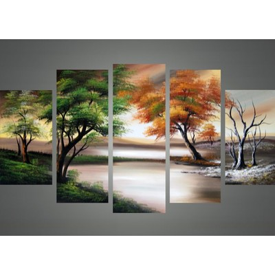 Trees in All Seasons Oil Painting - 60 x 32in