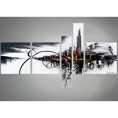 Large Cityscape Canvas Art - Black and White Abstract Wall Decor- 63 x 33in