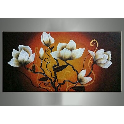 Floral Painting in Orange - 16x32in